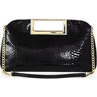 MICHAEL MICHAEL KORS Berkley Patent Python-Embossed Leather Large Clutch photo