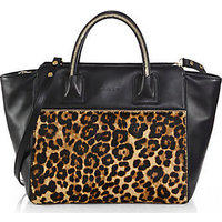 MILLY Logan Large Leather & Calf Hair Tote photo