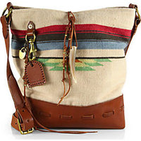 Ralph Lauren Collection Leather-Trimmed Woven Blanket Hobo Bag photo